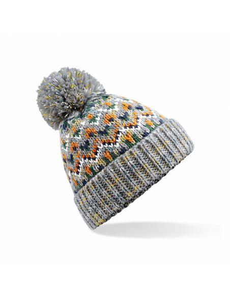 Večbarvna zimska kapa s cofom