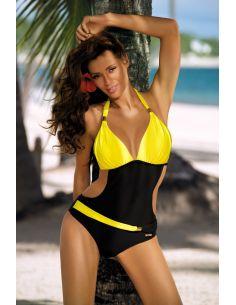 Ženski jednodijelni monokini kupaći kostim Beatrix Nero-Primula M-337 (14)