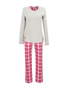 Ženska pižama Virginia 148 Mocca z rdečimi dolgi rokav