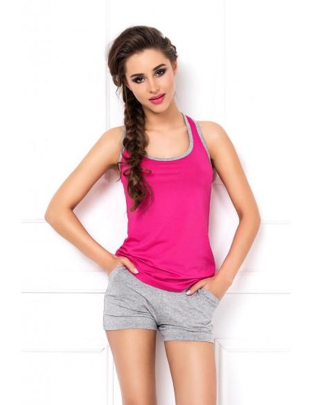 Ženska poletna pižama Aklina roza-siva