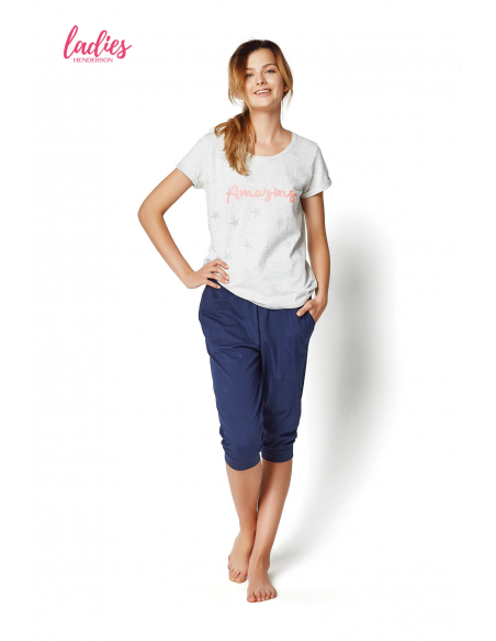 Ženska poletna pižama Raisa 35252-09X siva-modra