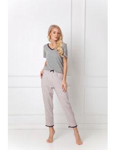 Ženska pidžama Gwen Long Dark siva