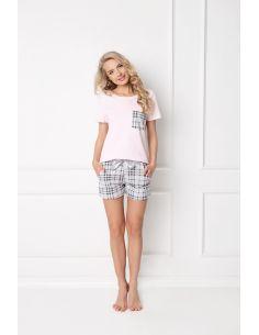 Ženska pižama Londess Short roza-siva