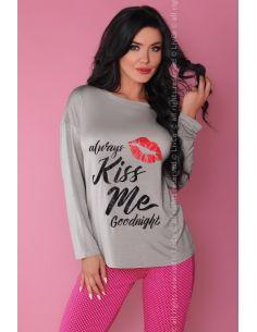 Ženska pidžama Sweet Kiss 108 siva-roza