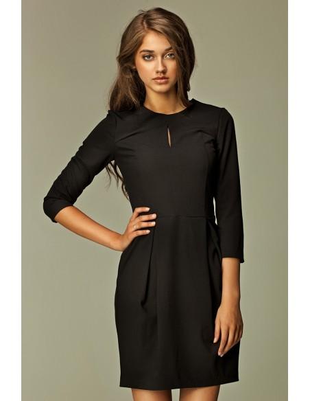 Ženska elegantna obleka z solzico 3/4 rokavi S32
