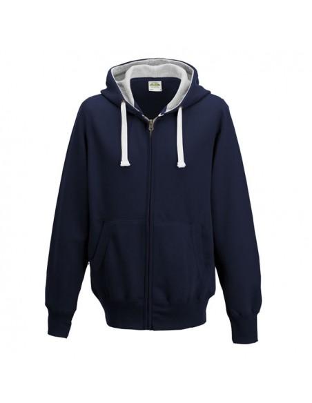 Dvobarvni pulover z zadrgo in kapuco JH052